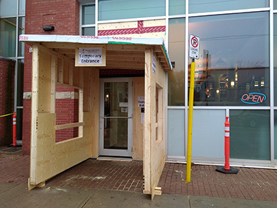 New Bowmanville temporary entrance.