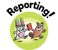SRC illustrated button, book reporting.