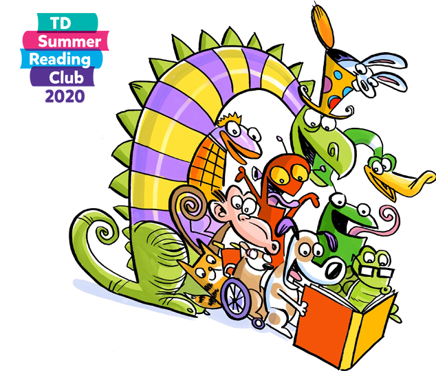 Colourful Summer Reading Club graphic of children and animals reading together.