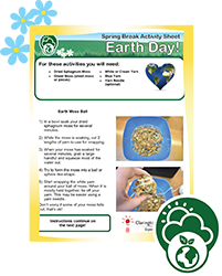 Spring Break Activity Sheet, Earth Day.