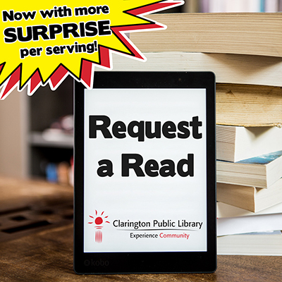 ereader with Request a Read text and Library logo.
